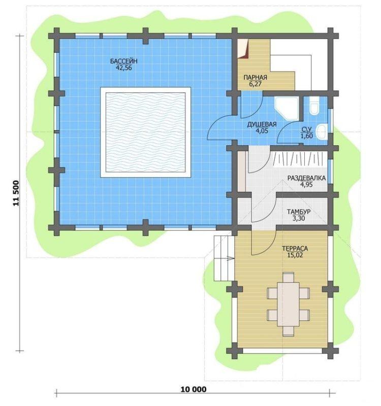 «Проекты одноэтажных бань: преимущества, фото, идеи» фото - odnoetajnye bani 12 750x800