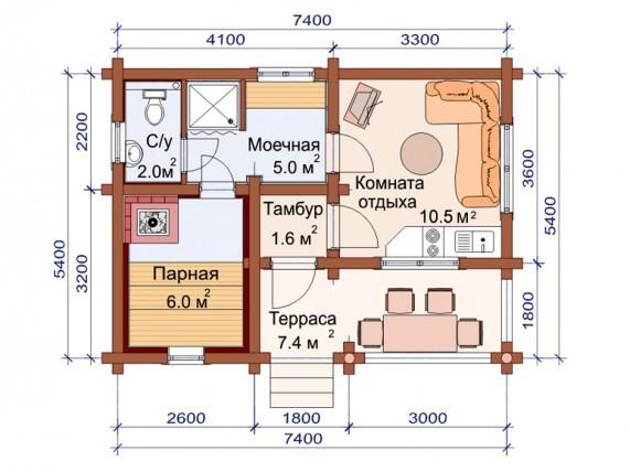 «Проекты одноэтажных бань: преимущества, фото, идеи» фото - odnoetajnye bani 15 1