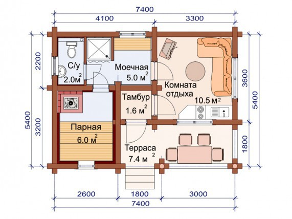 «Проекты одноэтажных бань: преимущества, фото, идеи» фото - odnoetajnye bani 15