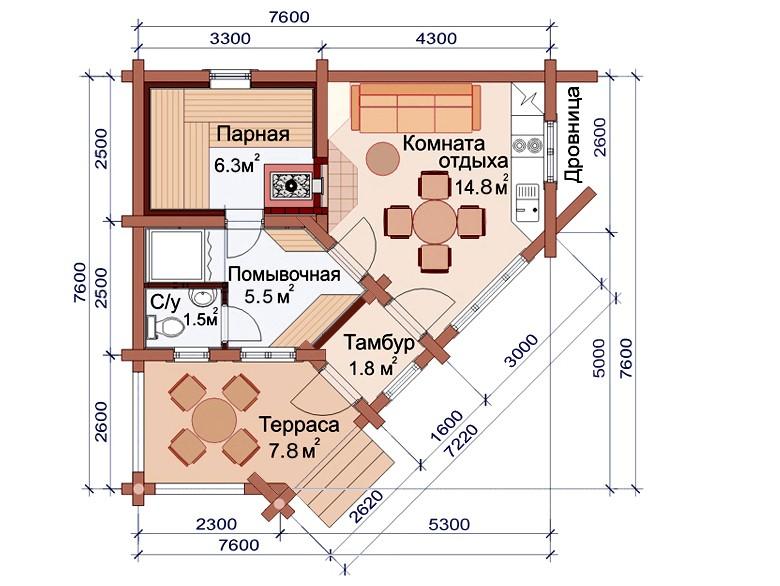 «Проекты одноэтажных бань: преимущества, фото, идеи» фото - odnoetajnye bani 20