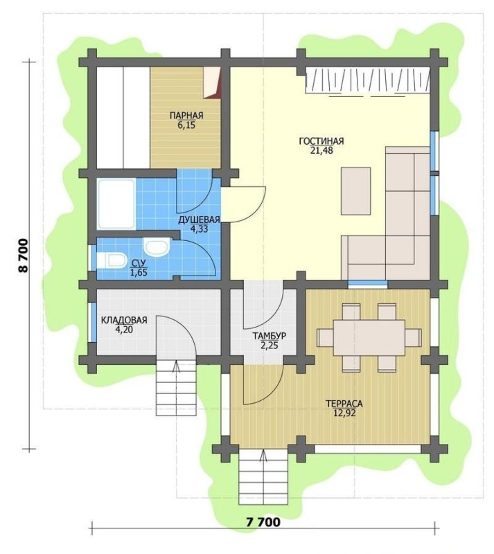 «Проекты одноэтажных бань: преимущества, фото, идеи» фото - odnoetajnye bani 8 713x800